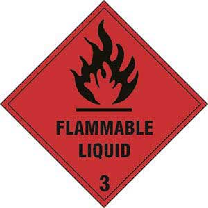 Flammable Liquid 3 Diamond Labels