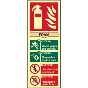 Foam Fire Extinguisher Photoluminescent Sign