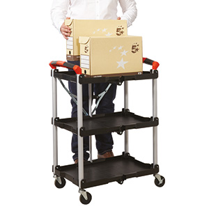 Folding Trolley with 3 Shelves with FREE UK Delivery