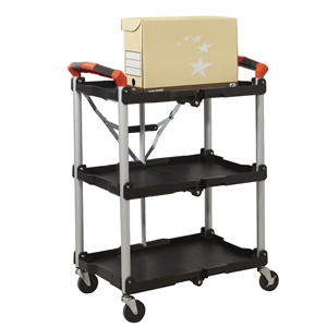 Folding Trolley with Polypropylene Shelves and Aluminium Frame