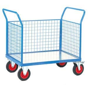 Galvanised Base Platform Trolley with 3 Mesh Sides