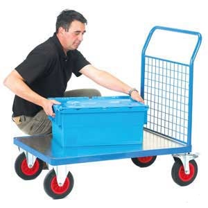 Galvanised Base Platform Trolley with Single Mesh End