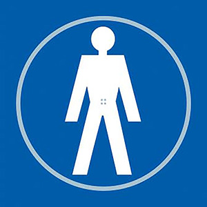 Gentlemans Toilet Blue Braille Sign with FAST UK Delivery