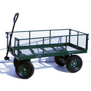Green Platform Trucks with Mesh Sides