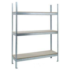 H/D Galvanised Just Shelving with 3 Chipboard Shelves