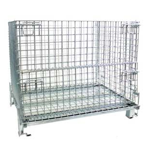 Heavy duty mesh collapsible cage pallet