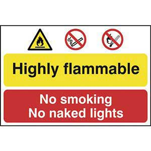 Highly Flammable, No Smoking, No Naked Light Sign Self Adhesive 400 x 600