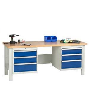 Industrial Workbenches with Drawers and Cupboards