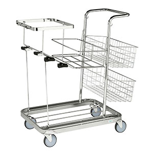 Janitorial Cleaning Trolleys with Mesh Baskets