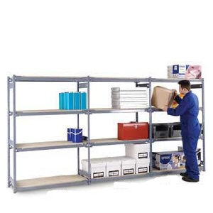 Medium Duty Widespan Shelving Extension Bay with 4 Chipboard Shelves