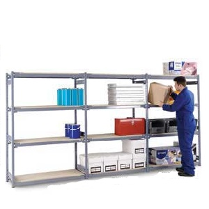 Medium Duty Widespan Shelving Starter Bay with 4 Chipboard Shelves