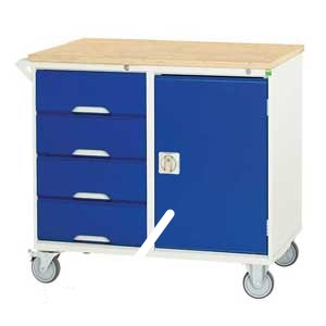 Mobile Cabinet with 1 Cupboard and 4 Drawers