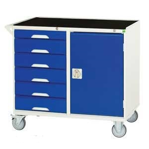 Mobile Cabinet with 1 Cupboard and 64 Drawers