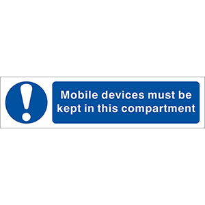 Mobile Devices Must Be Kept In The Compartment Sign, Twin Pack