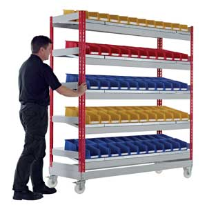 Mobile Just Kanban Shelving Bays With 5 Shelves
