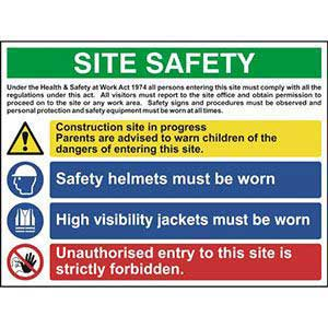 Multi-Purpose Site Safety Sign With 1 Warning, 2 Mandatory & 1 Prohibition Procedures