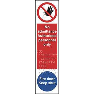 No Admittance Authorised Personnel Only Braille Finger Plate