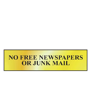 No Free Newspapers Or Junk Mail Mini Sign in Gold or Chrome, FAST Delivery