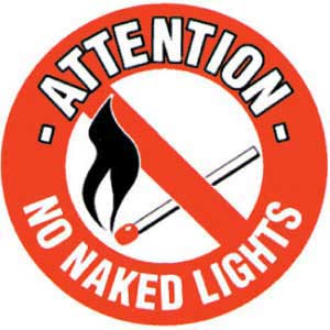 No Naked Lights Graphic Floor Marker