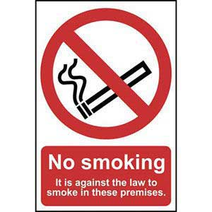 No Smoking. It Is Against The Law To Smoke In These Premises Sign