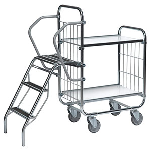 Order Picking Trolleys with fold down steps