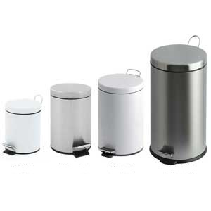 White Steel Pedal Bins