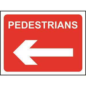 Pedestrians Roll-up Sign With Arrow Left