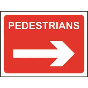 Pedestrians Roll-up Sign With Arrow Right