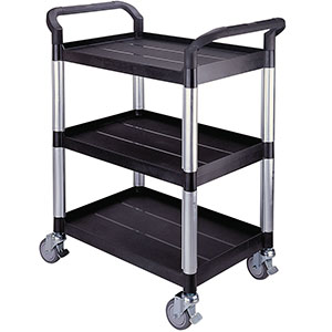 Plastic Utility Tray Trolleys with 2 and 3 Shelves