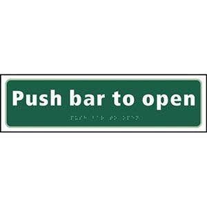 Push Bar to Open Braille Sign