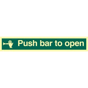 Push Bar To Open Photoluminescent Sign
