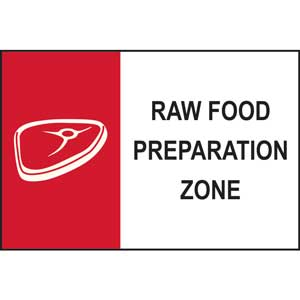 Raw Food Preparation Zone Sign