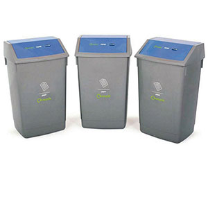 Recycling 3 Bin Kit with Flip Top Lids
