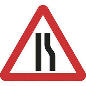 Road Narrows Right Roll-up Sign