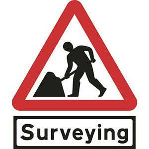 Road Works Roll-up Sign With Surveying Supplementary Plate
