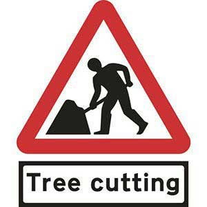 Road Works Roll-up Sign With Tree Cutting Supplementary Plate