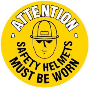 Safety Helmets Must Be Worn Graphic Floor Marker