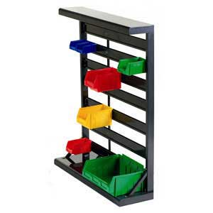 Single Sided Freestanding Plastic Bin Container Rack
