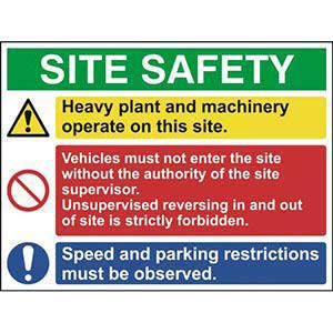 Site Safety Sign With 1 Warning, 1 Prohibition & 1 Mandatory Message