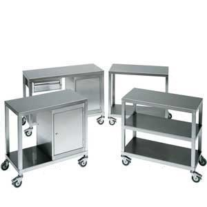 Stainless Steel 2 tier Trolleys & Cabinet