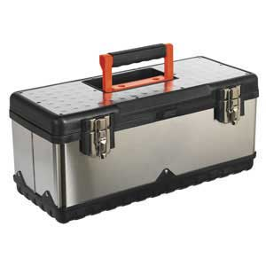 Stainless Steel Toolbox with Tote Tray