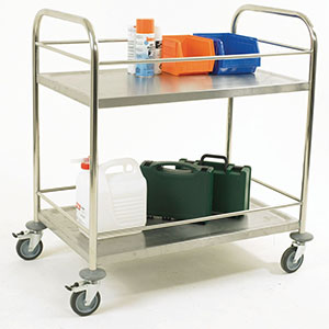 Stainless Steel Trolley with Retaining Bars and 2 Shelves