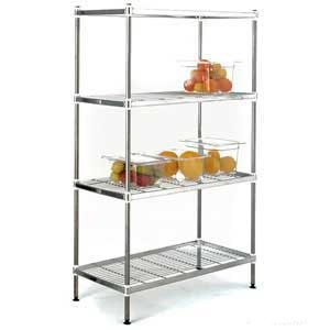 Stainless Steel Wire Shelving Bays with 4 Shelves