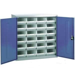 Steel Storage Cabinet With 24 Plastic Containers Ese Direct