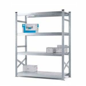 Supershelf Galvanised Steel Shelving Bays With Zinc Finish - 4 Shelves 1500mm Wide