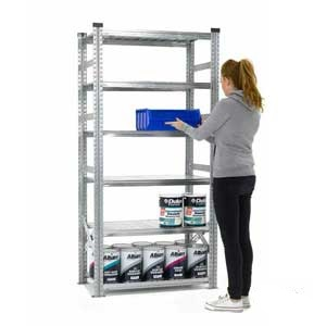 Supershelf Galvanised Steel Shelving Bays With Zinc Finish - 6 Shelves, 900mm Wide