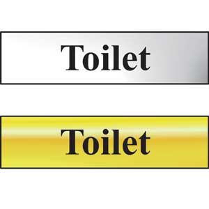 Toilet Mini Sign in Chrome and Gold, 200 x 50mm with FAST Delivery
