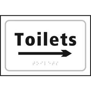 Toilets Braille Sign With Right Arrow