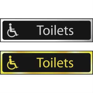 Toilets Mini Sign With Disabled Logo