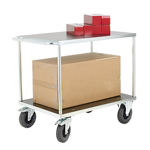 Two Tier Service Trolley, Electro Galvanised Finish